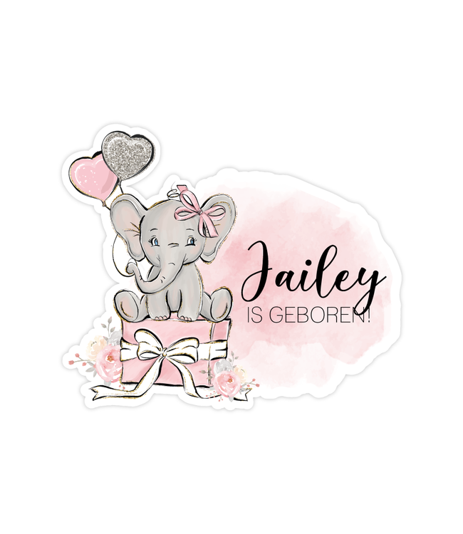 glitz4kids Geboorte raamsticker | Roze olifant brush