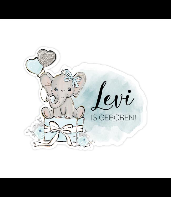 glitz4kids Geboorte raamsticker | Blauwe olifant brush