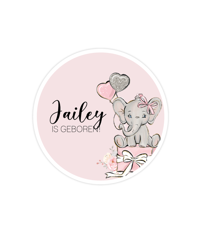 glitz4kids Geboorte raamsticker | Roze olifant cirkel