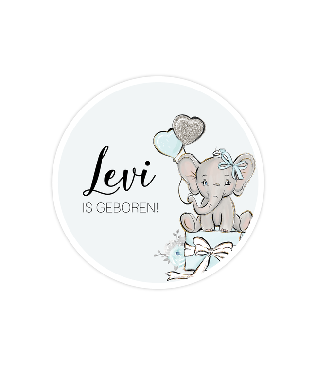 glitz4kids Geboorte raamsticker | Blauwe  olifant cirkel
