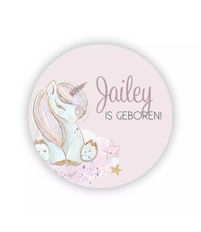 glitz4kids Geboorte raamsticker | Sleepy unicorn