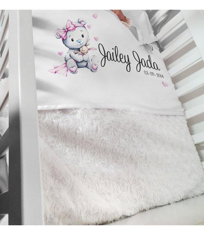 Glitz4kids Babydeken met naam | Glitz bear roze