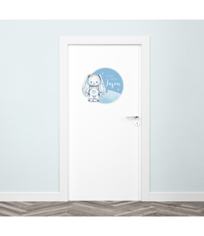 Deursticker met naam | Glitzy bunny blue
