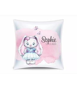 Glitz4kids Geboorte kussen   Glitzy bunny pink