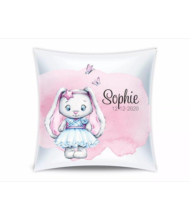 Glitz4kids Geboorte kussen | Glitzy bunny pink