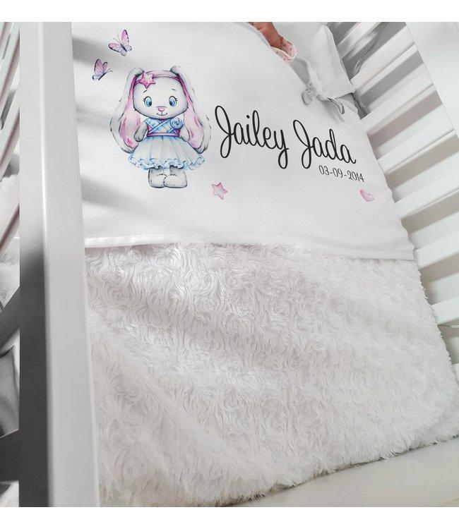 Glitz4kids Babydeken met naam | Glitz bunny pink