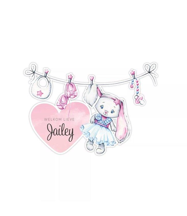 Geboorte raamsticker | Roze glitz bunny waslijn