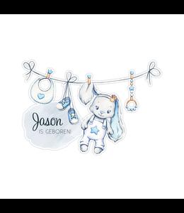 Geboorte raamsticker |Blauwe glitz bunny waslijn