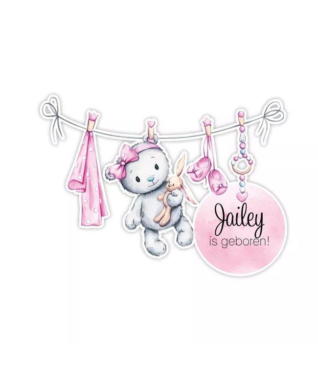 Geboorte raamsticker | Glitzy bear