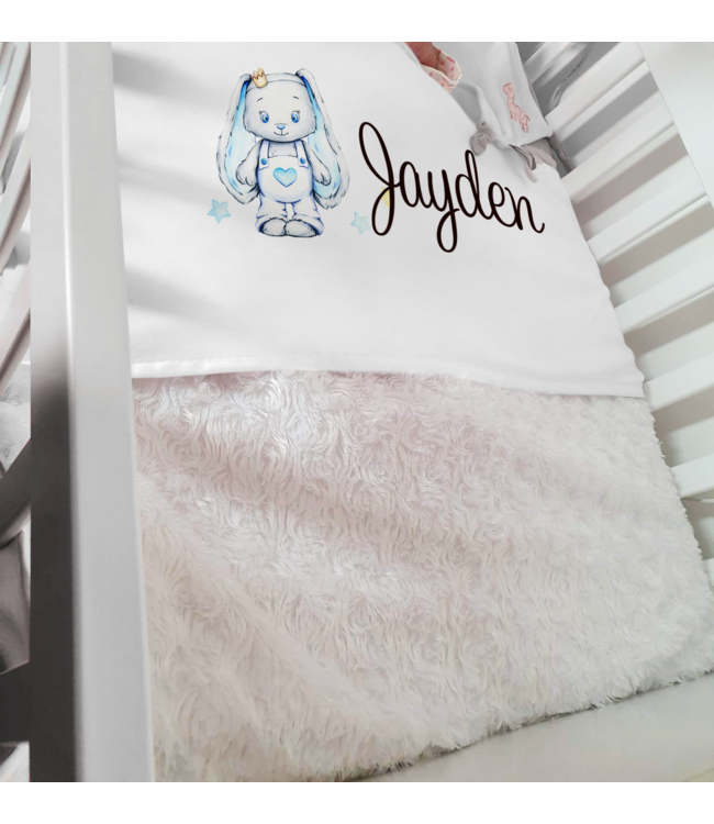 Glitz4kids Babydeken met naam | Glitz bunny blauw