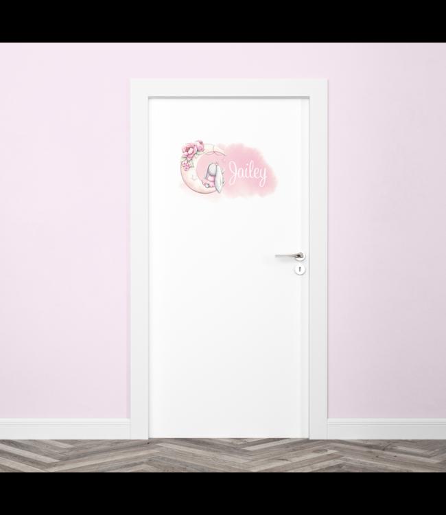 Deursticker met naam | Glitz moon bunny