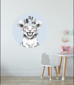 Muursticker cirkel |  Lion blue