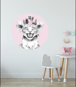 Muursticker cirkel |  Lion pink