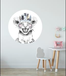 Muursticker cirkel |  Lion blue witte achtergrond