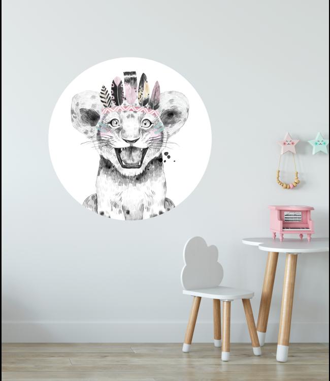 Muursticker cirkel |  Lion pink witte achtergrond
