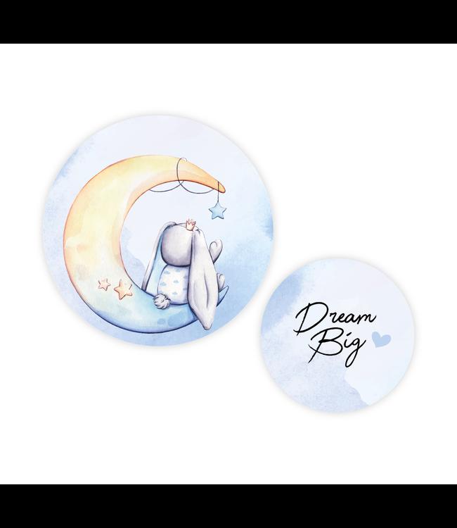 Muurcirkel set 2 stuks | Blue moon bunny