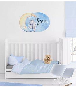 Muursticker met naam | Glitz moon bunny blauw