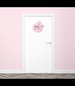 Deursticker met naam | Flamingo
