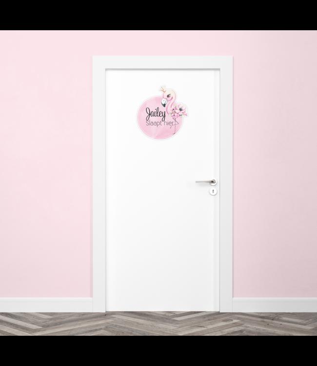 Deursticker met naam   Flamingo
