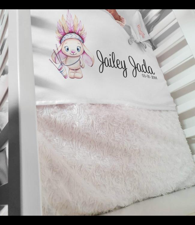 Glitz4kids Babydeken met naam | Glitz Indian bunny pink