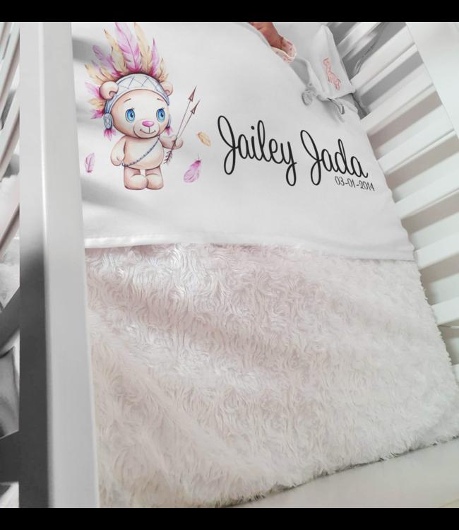 Glitz4kids Babydeken met naam | Glitz Indian teddy pink