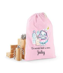 Glitz4kids Roze sinterklaas zak met naam - Bunny