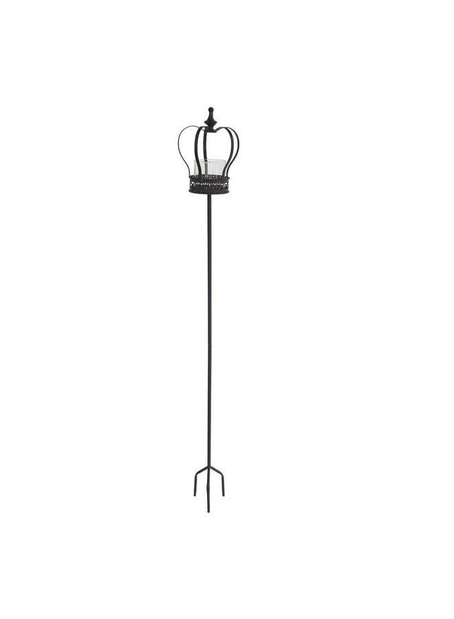 Windlicht Stab | Krone | Gartenstecker mit Glaseinsatz | Antikbraun