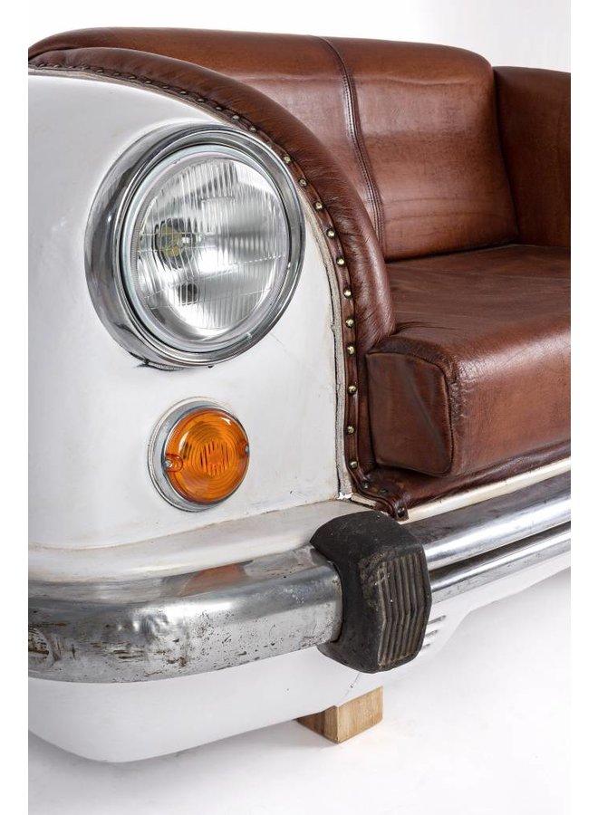 Sofa aus Autofront mit Leder | weiss
