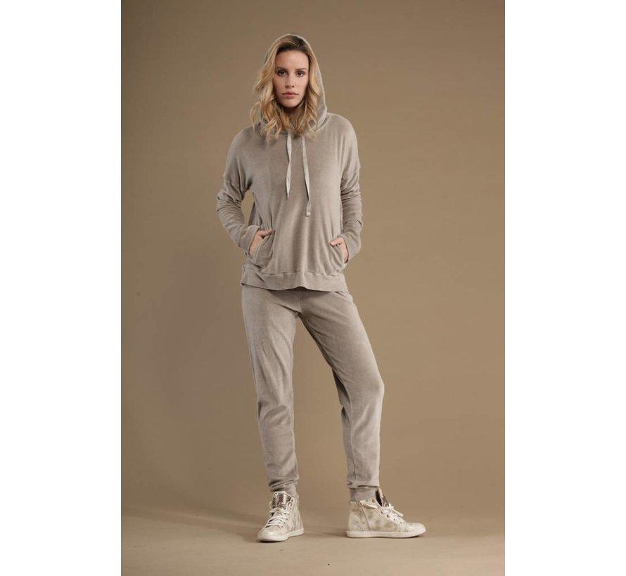 Nicky Plüsch Hose | Chenille Jogger Pants | Nici Light Grey