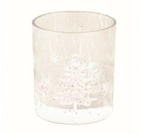 Teelichthalter   Milchglas   Winterzauber   Gross