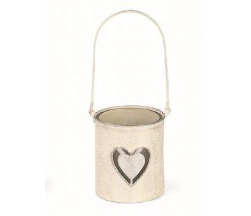 Teelichthalter | Antikweiss | mit Glaseinsatz | Herz