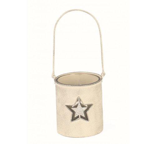 Teelichthalter | Antikweiss | mit Glaseinsatz | Stern