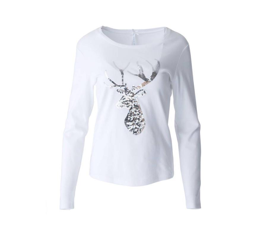 """Shirt   """"Paillettenhirsch""""   Weiss/Silber"""