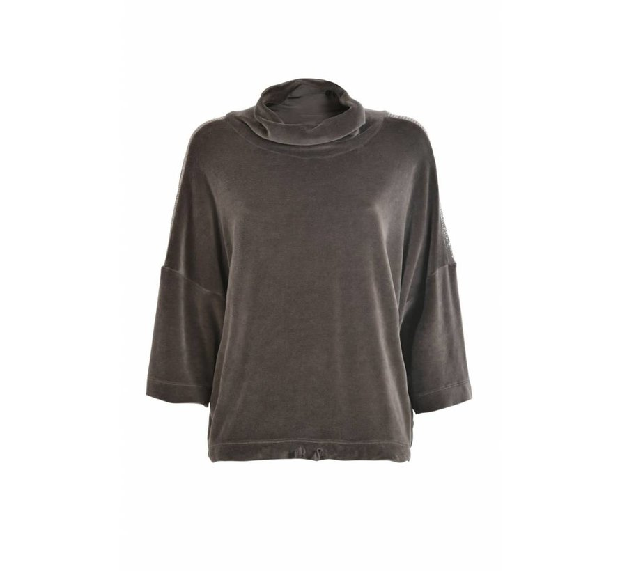 Sweatshirt   Chenille Crop   Niki Plüsch  Caviar grey