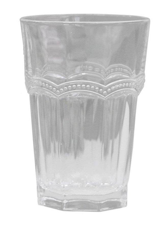 Trinkglas | Antoinette | mit Perlenkante | weiss
