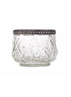 Chic Antique Teelichthalter mit Perlenkante | Glas | klein