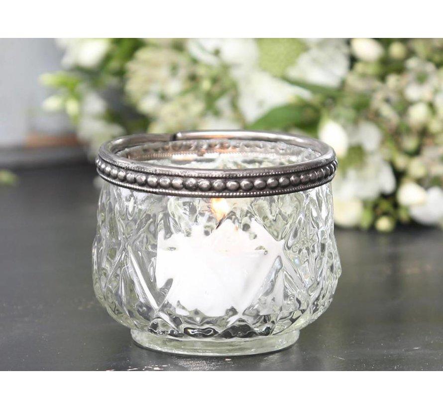 Teelichthalter mit Perlenkante | Glas | klein