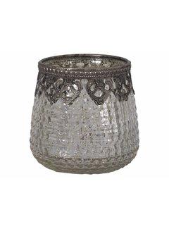 Chic Antique Teelichthalter Ampel Gross | Glas | Antik Silber