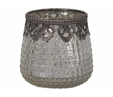 Chic Antique Teelichthalter Ampel Gross | Glas | Antik Silber
