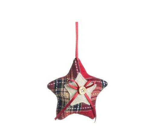 Dekoanhänger Stern klein | Karo Rot