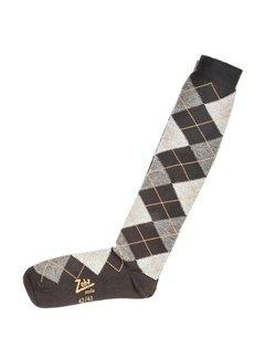 Zeha Berlin Socken | Lang | hellgrau/dunkelgrau/gelb