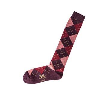 Zeha Berlin Socken | Lang | dunkel violett/rosa/rost/camel