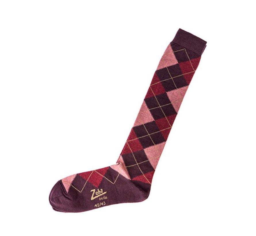 Socken | Lang | dunkel violett/rosa/rost/camel