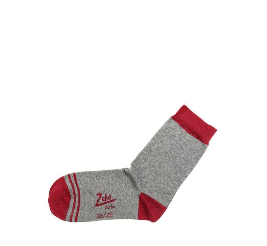 Socken | Kurz | grau, Ferse rubinrot