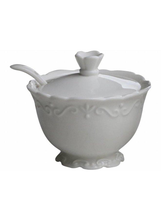 Zuckerdose mit Deckel Provence - 100% Porzellan