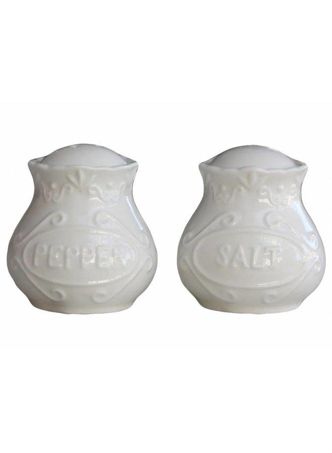 Salz & Pfeffer Set Provence - 100% Porzellan Weiss