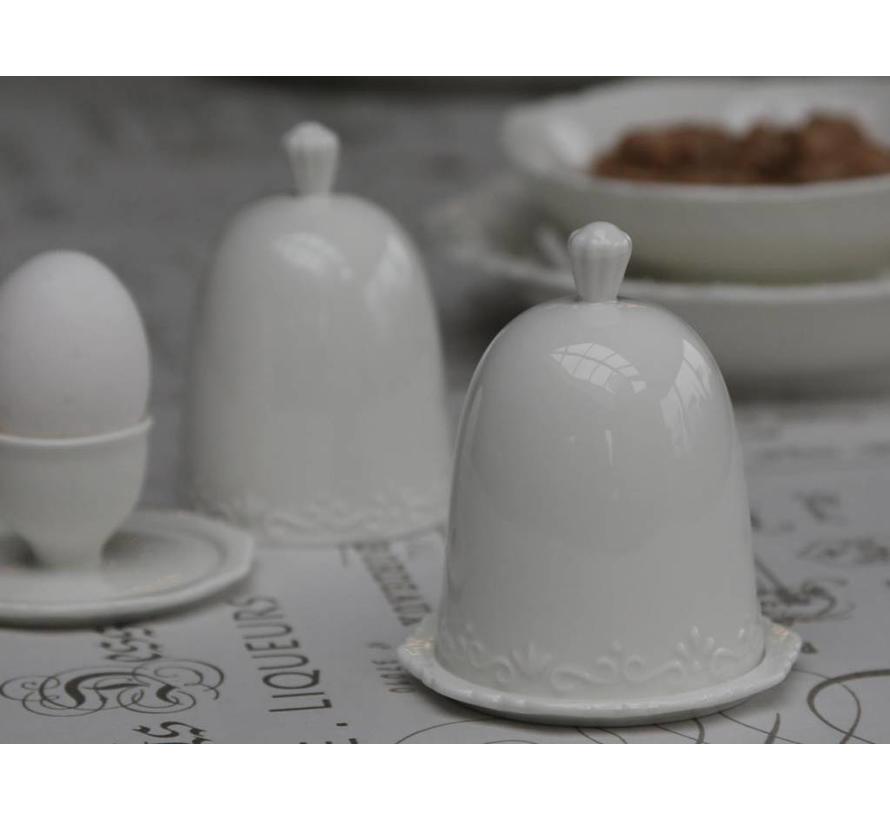 Eierbecher mit Deckel   Provence   Weiss