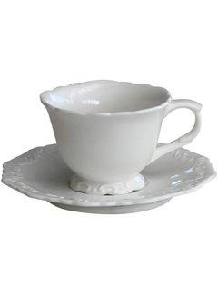 Chic Antique Kaffeetasse mit Unterteller | Provence | Weiss