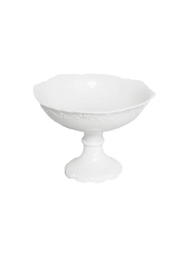 Schale auf Fuss Provence - Porzellan Weiss