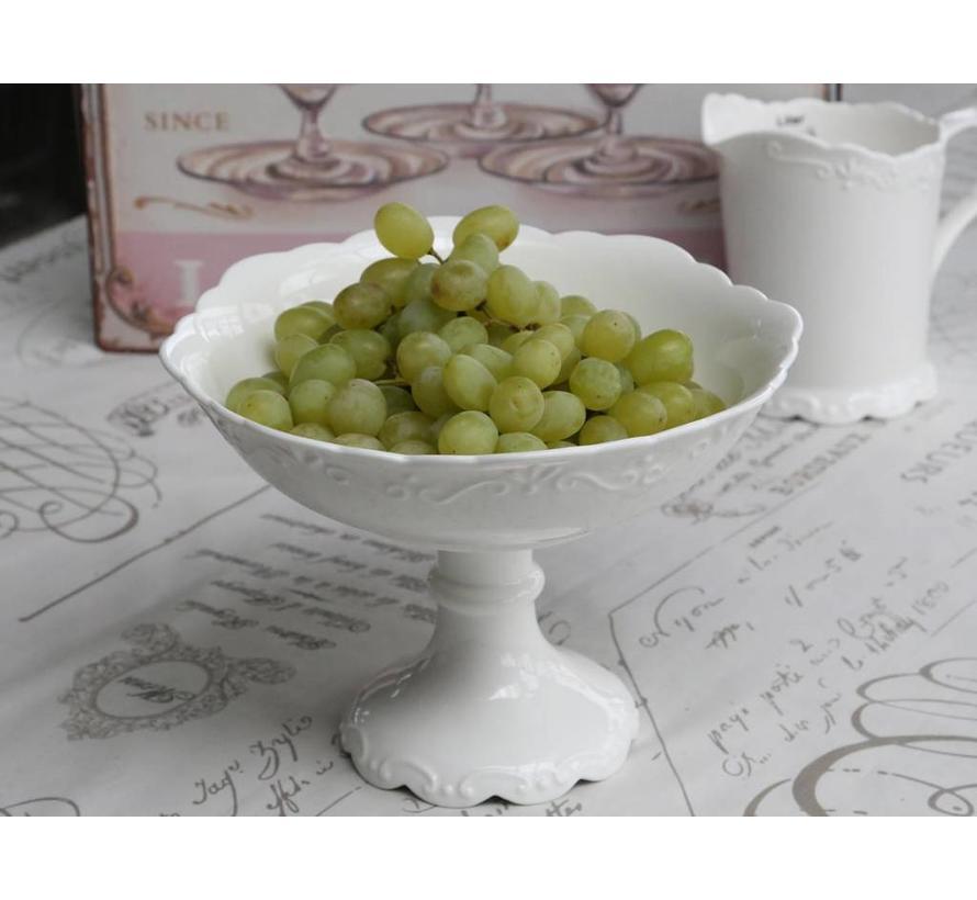 Schale auf Fuss | Provence | Porzellan Weiss
